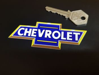 """Chevrolet Blue & Yellow Classic BowTie Stickers - 3.5"""", 4"""" or 6"""" Pair"""