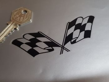 """Chequered Flag Stickers, Corvette Style, Black & Clear - 4"""" Pair"""
