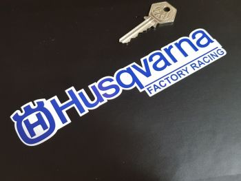 """Husqvarna Factory Racing Shaped Text Stickers - Blue & White - 7"""" Pair"""