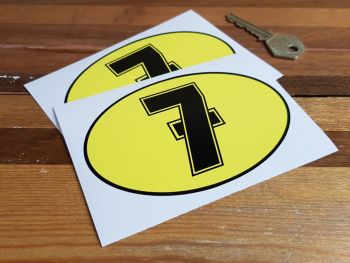 """Barry Sheene Number Seven Logo Stickers 4.75"""" Pair"""