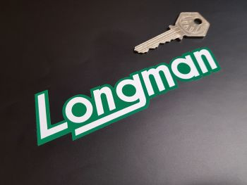 """Longman Shaped Green & White Text Stickers 5"""" Pair"""