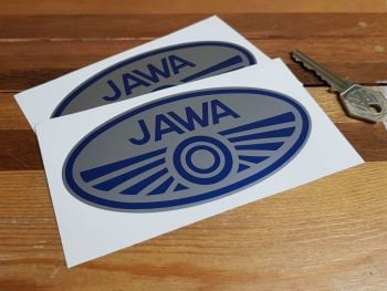 """Jawa Double Circle Oval Stickers - Blue & Silver - 5"""" Pair"""