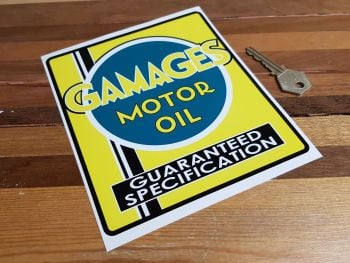 """Gamages Motor Oil Guaranteed Specification Sticker 6.75"""""""