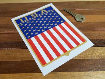 "USA Flag Style Shield Sticker 6"""