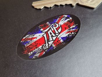 """JAP Fade to Black Union Jack Stickers - 2.5"""", 3"""", or 4"""" Pair."""