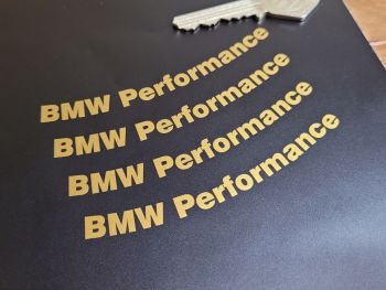 """BMW Performance Curved Cut Text Stickers - Set of 4 - 3.75"""""""