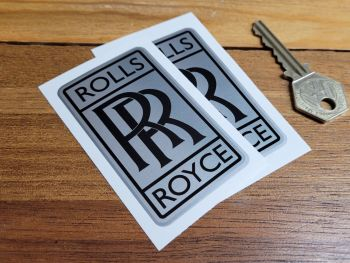 """Rolls Royce 'RR' Shaded Style Oblong Stickers - 3"""" Pair"""