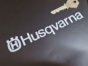 """Husqvarna Cut Logo & Text Stickers 6"""" Pair"""