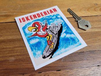 """Iskenderian Surfing Parrot Sticker 4"""""""