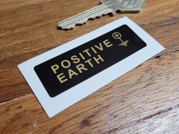Positive Earth + Black & Gold Sticker - 60mm