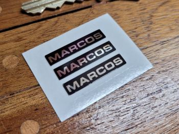 Marcos Oblong Chrome Style Stickers -Set of 3 - 25mm