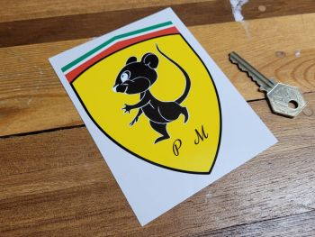 "Fiat 500 Prancing Mouse Shield Sticker 4.75"""