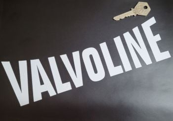 """Valvoline Curved Top Cut Text Stickers - 10"""" Pair"""