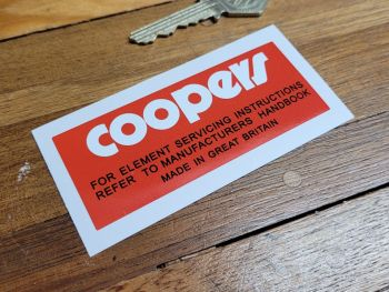 """Coopers Element Servicing Instructions Sticker 3.5"""""""