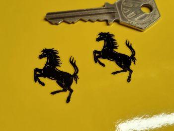 Ferrari Prancing Horse Black & Clear Logo Stickers - 32mm Pair