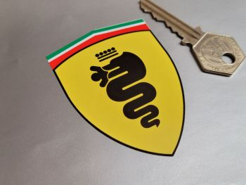 """Alfa Romeo Ferrari Style Shield Stickers -  Left Facing or Handed - 3"""" or 4"""" Pair"""