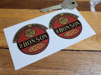 "Rhonson Lyon Fabrication Garantie Moped Stickers - 2"" Pair"