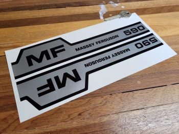 """Massey Ferguson 590 Black & Silver Pedal Tractor Stickers - 10.25"""" Handed Pair"""