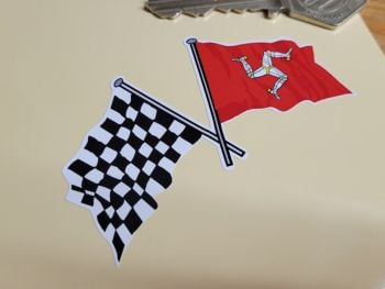 """Isle of Man & Crossed Chequered Flag Sticker - 2"""", 3"""" or 4"""""""