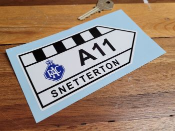 "Snetterton RAC A11 Road Sign Sticker - 6"" or 12"""