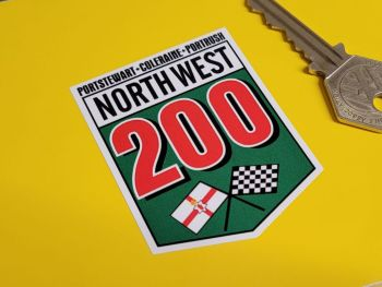 """North-West 200 Crossed Flags Sticker 2"""""""