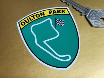 """Oulton Park Green Shield Classic 50's 60's Style Sticker 3"""""""
