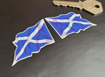 "Scottish Saltire Wavy Flag Stickers - 2"" , 4"", or 8"" Pairs"