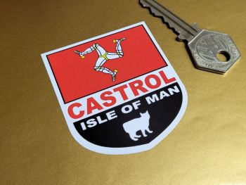 """Isle of Man and Castrol Shield Stickers 2"""" Pair"""