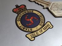 Isle Of Man Blue & Gold Crown and Scroll Style Sticker - Various Sizes