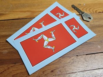 """Isle of Man Oblong Flag Stickers - Set of 4 - 2"""" & 4"""""""