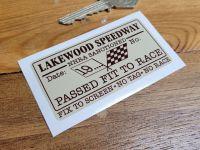 Lakewood Speedway NHRA Passed Fit To Race Sticker 3