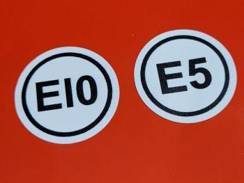 Ethanol E5 & E10 Petrol Fuel Labels - 25mm Pair