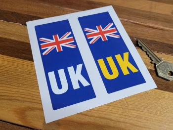 """UK Union Jack Number Plate ID Nationality Cover Up Front & Rear Stickers - 4.5"""" Pair"""