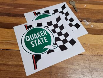 """Quaker State Green Chequered Flag & Pole Stickers - 6.5"""" Pair"""