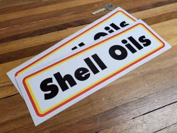"""Shell Oils Type A Thick Oblong Stickers - 11"""" Pair"""