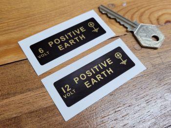 Positive Earth + Black & Gold Sticker - 6 volt or 12 volt - 60mm