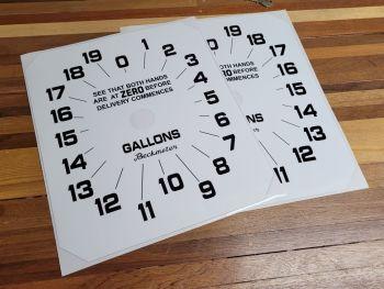 """Beckmeter Petrol/Gas Pump Gallons Clock Face Sticker. 11"""" x 13""""."""
