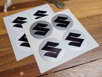 Suzuki Circular S Plain Style Stickers - 50mm Set of 4