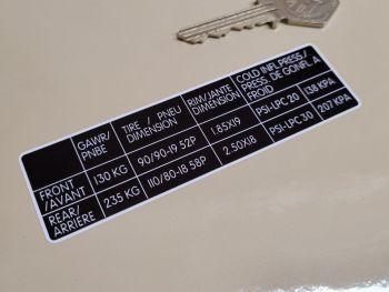 "Royal Enfield Tyre Pressure Sticker - 4.25"""