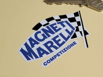 """Magneti Marelli Competizione Chequered Flag & Ovoid Stickers - 2.5"""" or 4.25"""" Pair"""