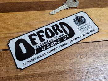 """Offord & Sons, Portman Square, London, Over 145 Years, Dealer Window Sticker - 6"""""""