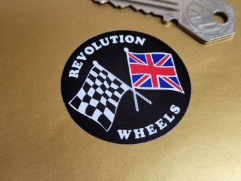 "Revolution Wheels Crossed Flags Circular Stickers - 2"", 2.5"", or 4"" Pair"
