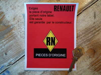Renault Manufacturers Guarantee Label French Text Sticker 4.5