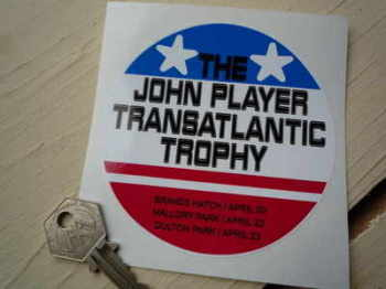 "John Player Transatlantic Trophy Sticker. 4""."