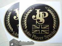 "John Player Special Union Jack Circular Stickers. 4"" Pair."