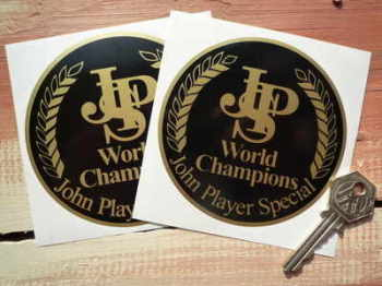 "John Player Special World Champions Circular Stickers. 4"" Pair."