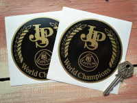 "John Player Special Lotus World Champions Circular Stickers. 4"" Pair."