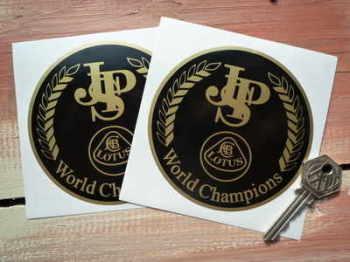 "John Player Special Lotus World Champions Circular Stickers. 4"" Pair."