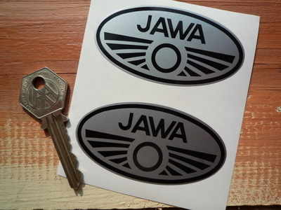 Jawa Black & Silver Oval Stickers. 3
