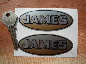 "James Motorcycle Oval Stickers. 3.5"" Pair."